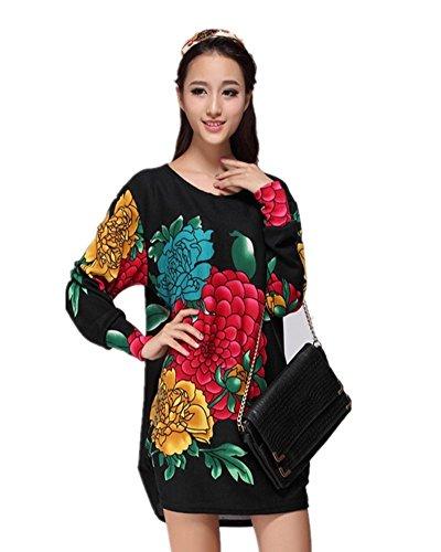 SaiDeng Donna Bohemian Girocollo Colorata Stampa Manica Lunga Allentata Pullover Immagine 2025 Free Size