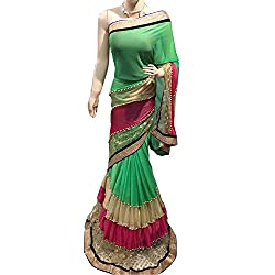 Green and Red Designer lycra With Embroidered lehenga Saree.