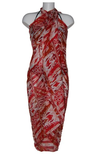 Tamari Red Printed Sarong Beach Cover Up Wrap Dress One Size For Women