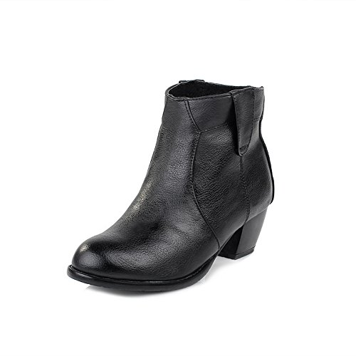 BeautyLover Womens Closed Round Toe Kitten Heels Velvet?Lining PU Solid Boots with Chunky Heels