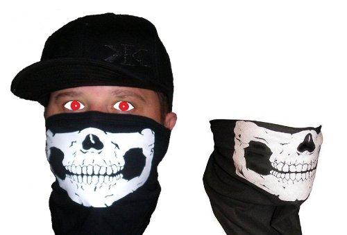 Velcro Close Skull Face Bandana Mask & Skeleton Neck Tube Motley Buff USA MADE