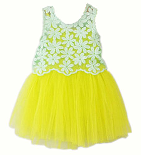 Baby Girls Kid Hollow Out Sundress Summer Party Dresses Braces Skirts Vest Tutus (3-4 Years, Light Yellow)