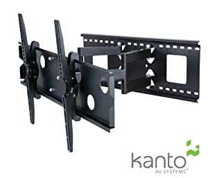 """Kanto KM-FMX2 Full Motion Articulating TV Wall Mount Bracket - Mount Flat Screen Television and Flat Panel Monitors LED LCD PLASMA 37"""" to 70"""" - SOLID STEEL CONSTRUCTION (Black)"""