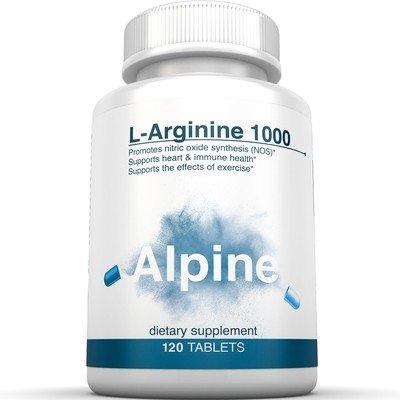 Alpine Nutrition L-Arginine 1000mg Tablets - NOS Nitric Oxide Capsules - 120 Tablets
