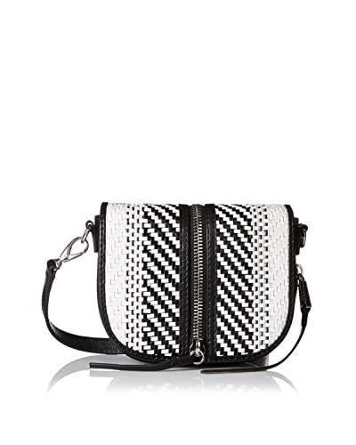 She + Lo Women's Make Your Mark Saddle Crossbody, Black/White Weave