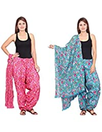 Rama Set Of 2 Floral Print Pink & Sky Blue Colour Cotton Full Patiala With Dupatta Set