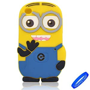HIGHSTAR Wristband+ 3D Cartoon Despicable Me Minion Style Soft Silicone Cover Case Compatible For Apple Ipod Touch 4/4g/4th Generation