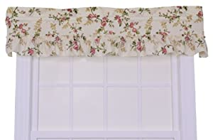 Ellis Curtain Kitchen Collection Willow Floral Ruffled Valance, Rose