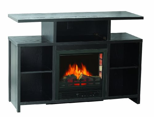Sylvania Sbm907L-42Fbk Electric Fireplace Heater 1250-Watt With Storage Space And 42.5-Inch Mantel, Black