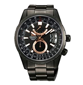 Orient DH01001B Men's Voyager Black Ion Plated Automatic Power Reserve Black Dial Watch
