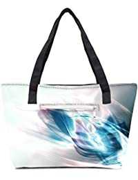 Pack Of 2 Abstract Blue And White Pattern Design Combo Tote Shopping Grocery Bag With Coin Pencil Purse