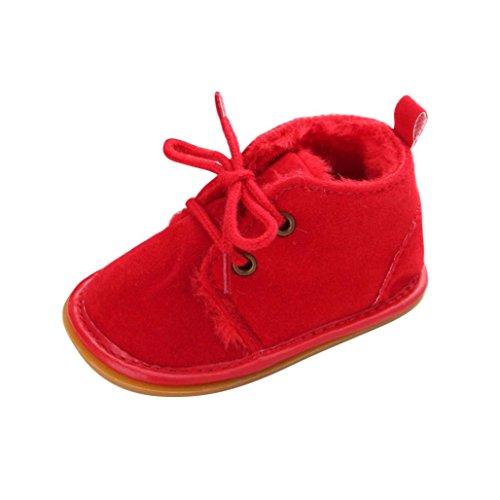 Kingko® Bambino del bambino pattini infantili neve stivali Shoes suola in gomma Prewalker pattini della greppia inverno Stivali (12~18 mesi, Rosso)