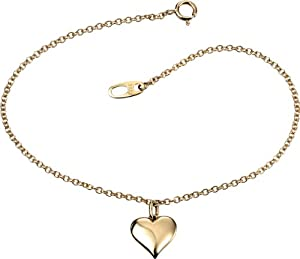 Elements Gold Ladies 9ct Yellow Gold Bracelet with Heart Charm of Length 19cm