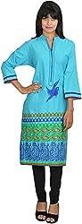 Goodyygoods Women's Cotton Regular Fit Kurti (GG 19, Blue, Large)