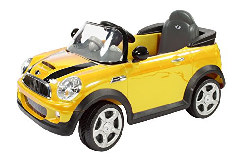 Aria Child Rollplay Mini Cooper 6V Battery Ride-On Vehicle, Yellow