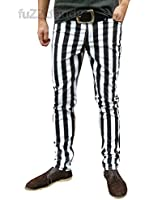 Drainpipe Skinny Trousers Jeans Striped Mod Indie White Black