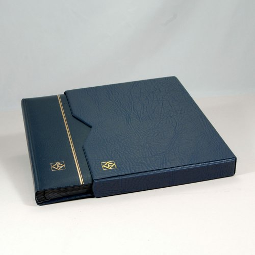 Lighthouse 32 Page Leather Stamp Stockbook with Matching Slipcase, Blue