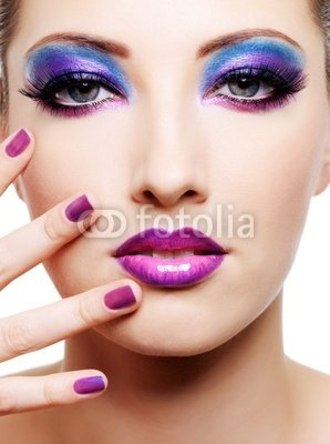"Wallmonkeys Peel and Stick Wall Decals - Beautiful Female Face with Purple Glamour Make-up - 18""H x 13""W Removable Graphic"