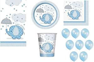 BLUE FOR BOY BABY SHOWER PARTY TABLEWARE PACK UMBRELLAPHANTS DESIGN NAPKINS PLATES CUPS TABLECOVER BALLOONS 57 ITEMS