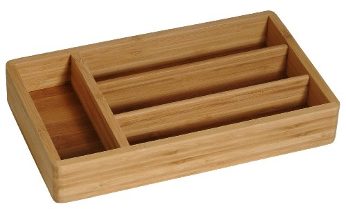 Bamboo Cutlery Tray W/4 Compartments. 12
