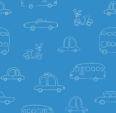 Hoopla Cars Sky Blue Bus Scooter Vehicle Childrens Bedroom 10m Wallpaper Roll Decor Art from DECORLINE