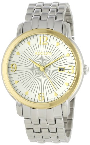 ADOLFO Men's 31023B Round Face Calendar Sun Dial Watch