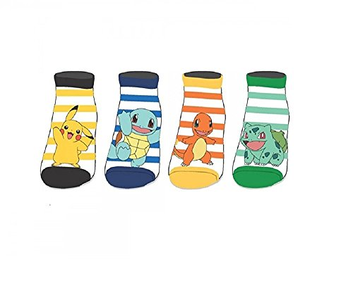 Pikachu-y-Pokemon-4-Pares-Calcetines-Ninos-Official-Licensed