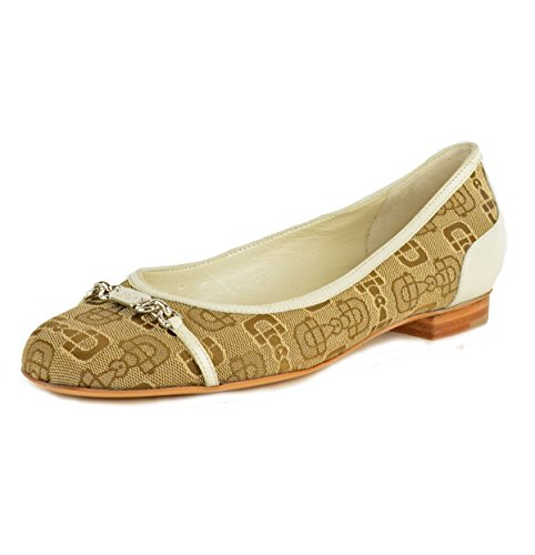 Gucci Shoes Horsebit Print Beige Canvas Flats Logo Signature Hardware
