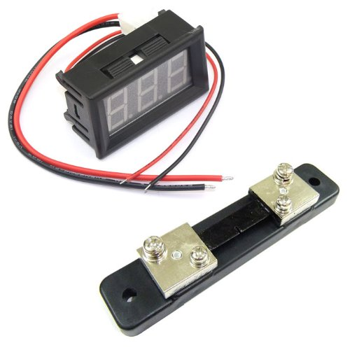 Drok 2 Wires Dc 0-50A Digital Current Meter Blue Led Amp Meter+Amperage Shunt...