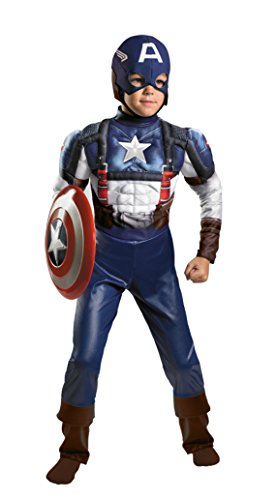 Boys Captain America Muscle Kids Child Fancy Dress Party Halloween Costume