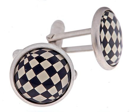 JJ Weston satin finish silver plated cufflinks with a checked illusion accent with presentation boxed. Made in the U.S.A