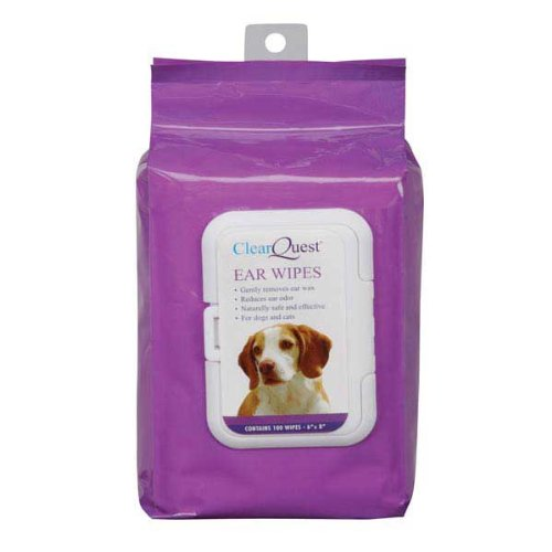 ClearQuest Dog and Cat Ear Wipes, 100-Pack