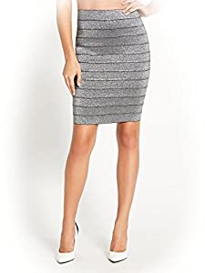 G by GUESS Women's Varina Bandage Midi Skirt, SILVER METALLIC (MEDIUM)