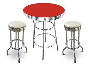 Amazon Com New 3 Piece Chrome Metal Bar Table Set With