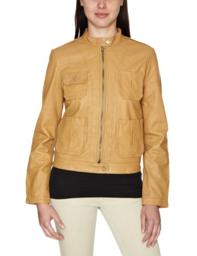 DKNY Lamb Crust Leather Bomber Womens Jacket Desert Small