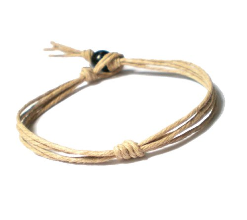 Men's Women's Forget Me Not Knot String Hemp Bracelet - Handmade (7 Inches)
