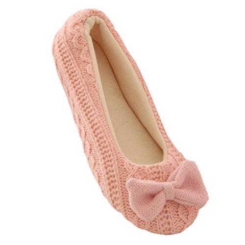 Vovotrade®Ladies Home Stockwerk weiche Innen-Hausschuhe Outsole Baumwolle gepolsterte Bowknot Weiblich Cashmere Warm Yoga-Schuhe (EU Size:39, Rosa)