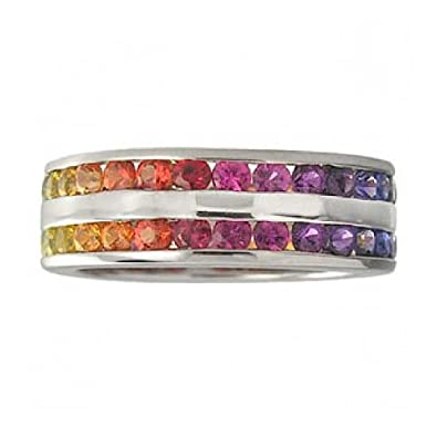 Rainbow Sapphire Double Row Eternity Ring 925 Sterling Silver (8ct tw)
