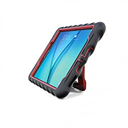 Gumdrop Cases Samsung Galaxy Tab A 9.7 - Hideaway with Stand - Black - Red - Silicone - Rugged Shock Absorbing Protective Dual Layer Cover Case
