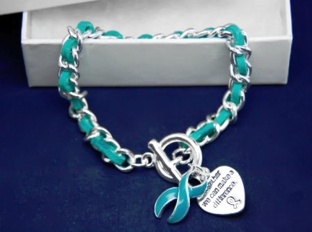 Teal Ribbon Bracelet-Leather Rope (18 Bracelets)