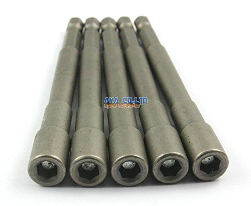 5-Pieces-Magnetic-55mm-Hex-Socket-Nut-Setters-Driver-S2-Steel-14-Hex-Shank-100mm-Long