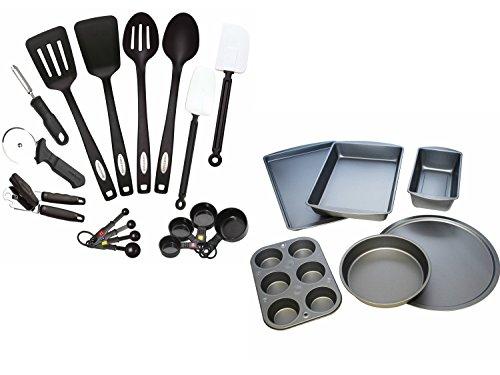 Farberware Classic 17-Piece Kitchen Tool and Gadget Set and BakerEze 6-Piece Non-stick Bakeware Set, Bundle (Faberware Percolator Thermostat compare prices)