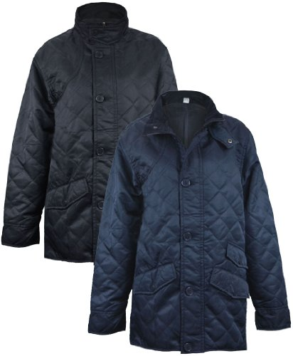 Mens Diamond Quilted Jacket Hunter Style Coat in Navy XXL