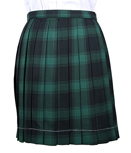 La Vogue-Gonna a Quadri da Ragazza Stile Inghilterra Scozzese Vestito per Donna Vita 68-73cm Verde