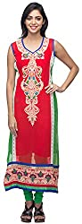 G&Z Collections Women's Georgette Straight Kurta (GZ020, Red, 46)