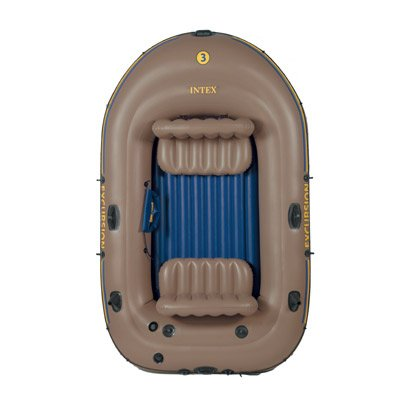 Intex Schlauchboot mit Ruder und Angelhalterung Boot Excursion 3 Set phthalates free Inklusive 2 Paddel und Luftpumpe, mehrfarbig, 262 X 157 X 42 Cm, 12-68319NP
