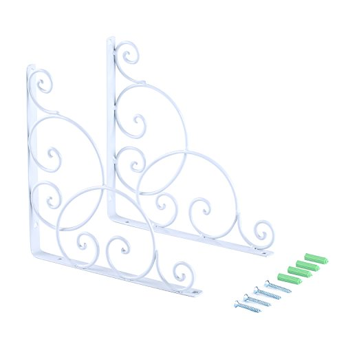 EtechMart Wall Bracket Shelf Support for Storage Display (White, Pack of 2)