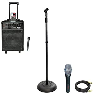 Pyle Speaker, Mic, Cable and Stand Package - PWMA940BTI 600 Watts VHF Wireless Portable PA System / Echo w/Microphone,i-Pod Dock & Bluetooth - PDMIK5 Dynamic Cardioid Microphone - PMKS5 Compact Base Black Microphone Stand - PPMCL50 50ft. Symmetric Microphone Cable XLR Female to XLR Male