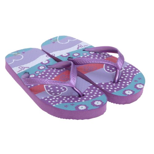 Kids/Childrens Girls Summer Beachwear Heart Flip Flops