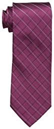 Calvin Klein Men\'s Etched Windowpane B Tie, Burgundy, Regular